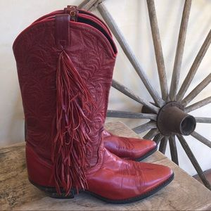 DINGO Red Leather Fringed Western Cowboy Boots 9M